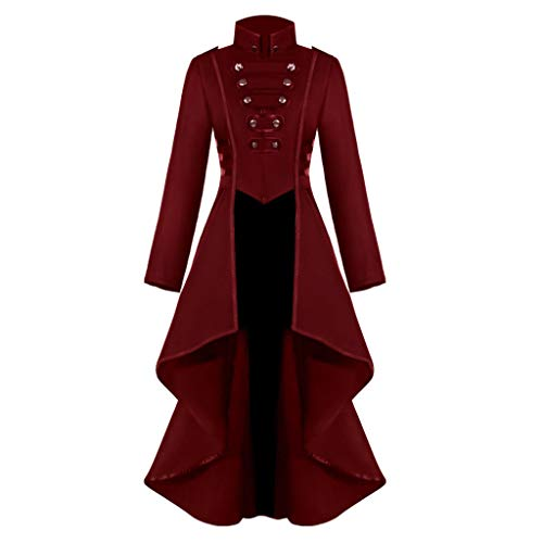 Innerternet Damen Langarm-Mantel Frack Jacke Gothic Gehrock Mode Steampunk Button Lace Retro-Smoking Männer Uniform Halloween Kostüm Party Oberbekleidung Plus Size (Weihnachtsmann Kostüm Verleih)