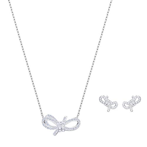 Swarovski set lifelong bow, bianco, placcatura rodio