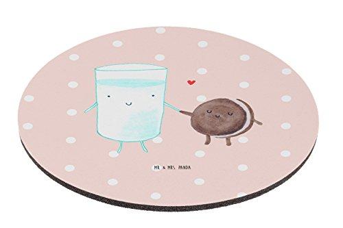 Mr. & Mrs. Panda Mauspad rund Milch & Keks - 100% handmade in Norddeutschland - Einladung Frühstück, Keks, Cookie, Milch, Milk, Büro, Motiv, Geschenk, Motiv süß, Schenken, Mouse Pad rund, romantisch