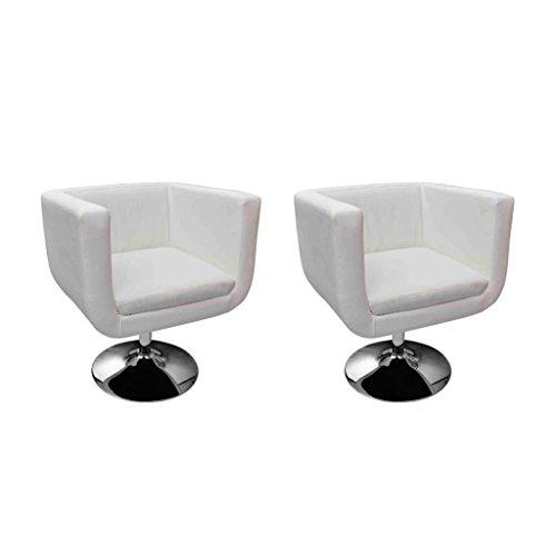 vidaXL Lot de 2 Fauteuil Design Club Blanc cuir synthétique acier chromé#FE