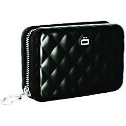 ÖGON QZ-Black Tarjetero Quilted Zipper Aluminio Anodizado Gran Capacidad Negro