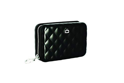 473cf546ae ÖGON QZ-Black Tarjetero Quilted Zipper Aluminio Anodizado Gran Capacidad  Negro