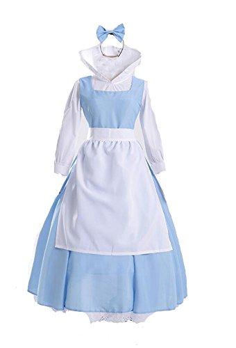 Frauen Blau die Schöne und Das Biest Bell Kleid Anime Cosplay - Kleidung Halloween zimmermädchen Kleid (M)
