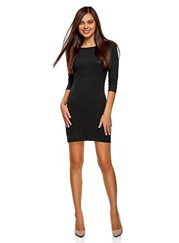 oodji Ultra Damen Jersey-Kleid Basic, Schwarz, DE 36 / EU 38 / S (Tochter Halloween Pink S)
