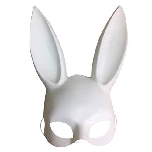 Malloom® 18 * 38cm pvc Matte helle Ostern Party Hasenohren Maske halbe Gesicht Masken Nachtclub Bar Masquerade (A, weiß)