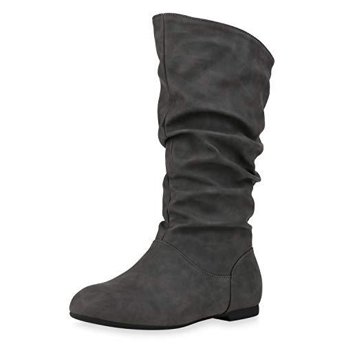 SCARPE VITA Damen Schlupfstiefel Warm Gefütterte Stiefel Basic Wildleder-Optik Schuhe Flache Slouch Boots 152414 Grau Grau 36