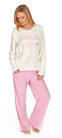 Femmes 'Stay In Lit Toute La Journée' Polaire Set Pyjama - Sommeil Fox, X-Large