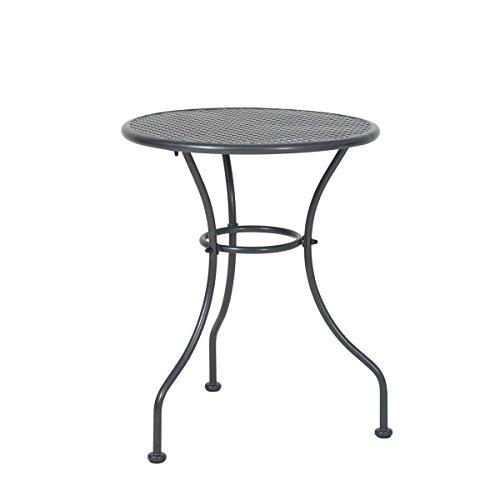 greemotion Tisch Vienna eisengrau, Dreibeintisch aus kunststoffummanteltem Stahl, witterungsbeständiger Balkontisch, runder Gartentisch für 2-4 Personen, Maße: 60 x 60 x 74 cm