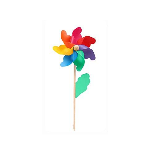 PUAK523 Rainbow Pinwheel, coloré, Jardin à Vent Manche en Bois Moulin à Vent DIY Enfants Jouet Garden Party Décoration de Mariage, 12cm Colorful, 12 cm