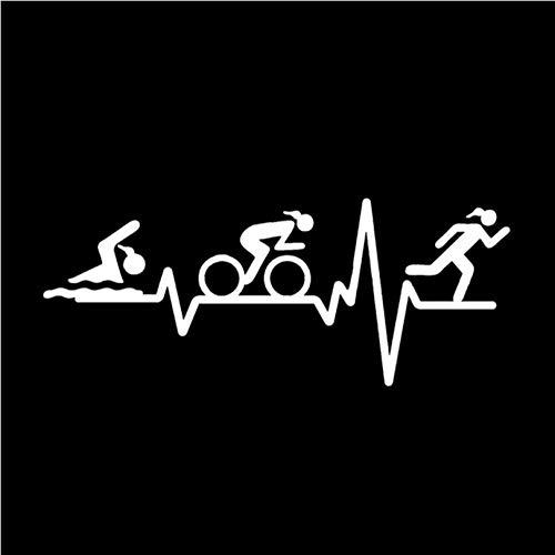 Auto-Aufkleber-Aufkleber HERZ BEAT LINE Triathlon Schwimmen Mädchen Läufer Fahrrad Dekor Auto Aufkleber Zubehör Vinyl 14,7 * 5,9 CM 2 Stück