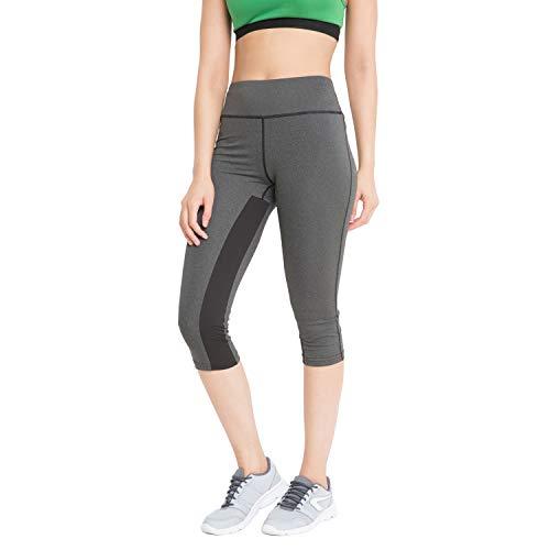 CHKOKKO Women's Polyester Stretchable High Waist Sportswear Active Yoga Workout Gym Capri (Dark Grey; Medium)