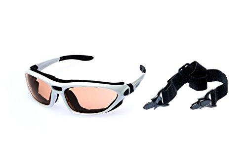 Alpland Sportbrille für Skifahren, Kitesurfing, Radfahren, mit abnehmbarem Band, Gläser mit Kontrastverstärkung, inkl. weicher Tragetasche