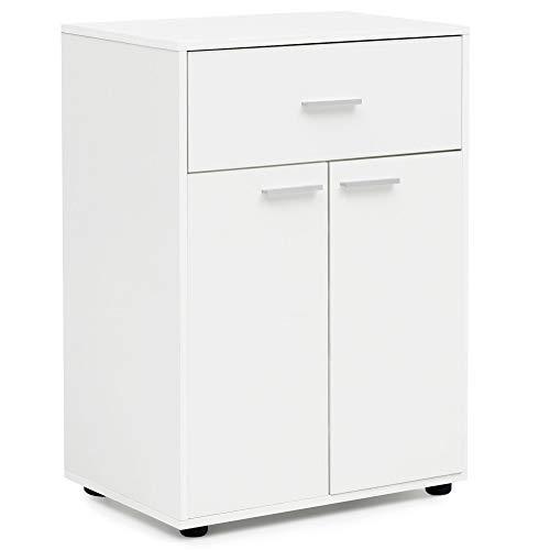 14675 Weiß 60x84x35 cm Matt Kommode mit Türen und Schublade | Design Anrichte Groß | Hohe Mehrzweckkommode Flur | Kleiner Standschrank Wohnzimmer | Mehrzweckanrichte Modern ()