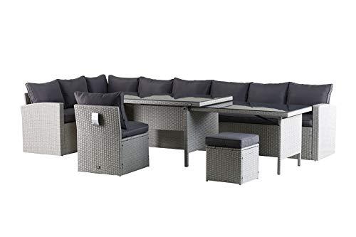 Mandalika Garden Hohe XXL Dinning Poly Rattan Lounge Kea Links grau