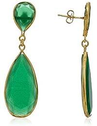Córdoba Jewels | Pendientes en plata de Ley 925 bañado en oro y piedra semipreciosa. Diseño Naisha Esmeralda oro
