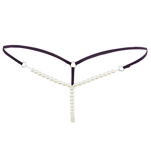 CHICTRY Damen Slip String Tanga Perlenstring Micro String Dessous Höschen Unterhose mit Ketten Violett One Size