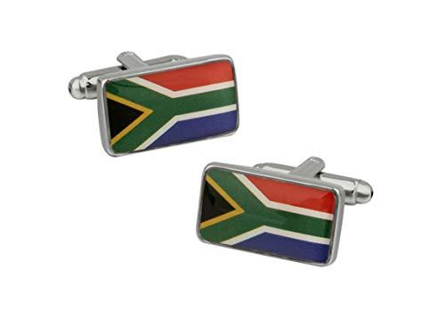 KnBoB Herren Manschettenknöpfe Süden Afrikanisch Flagge Bunt Manschettenknöpfe Hochzeit Geschäft Geschenk mit Box (Afrikanische Flagge)
