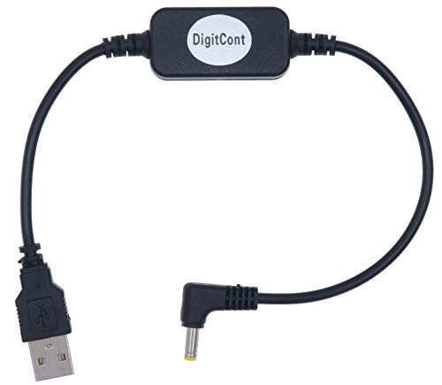 DigitCont USB 5V zu DC 12V Stromkabel, Kompatibel mit Amazon Echo Spot und neuer Echo Dot (3. Gen.), USB Spannung Up Converter Kabel, Netzteil Kabel, DC 5V zu DC 12V Kabel,1 ft,schwarz