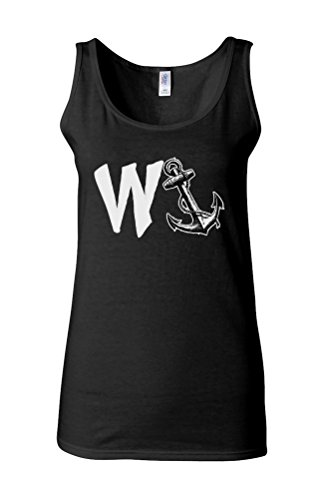 W Anchor W`Anker Ship Navy Marine Novelty White Femme Women Tricot de Corps Tank Top Vest *Noir