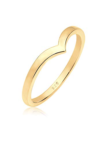 Elli Damen-Stapelring vergoldet 925 Silber - 0610470215 Gold Gr. 58 (Ringe Schmuck Gold 14k)