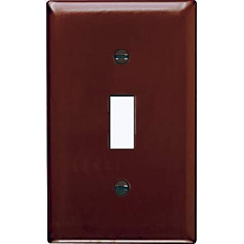 Pass & Seymour SP1U Plastic Wall Plate Single Gang Toggle without Line Easy Install, Brown