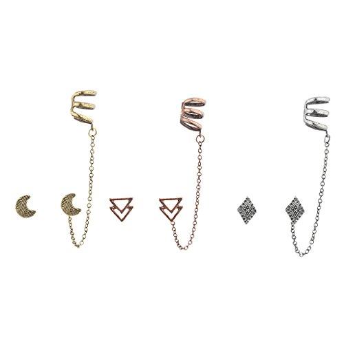 LUX Zubehör TRI Farbe Boho Multi Ohrring Ohr Manschette Set (3) (Billig-ohr-messgeräte)