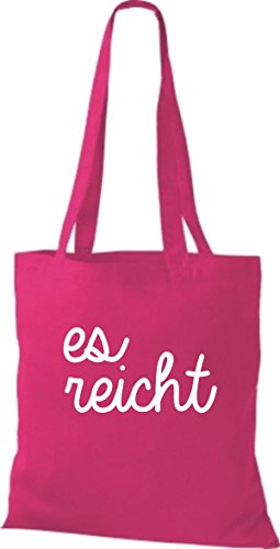 ShirtInStyle Stoffbeutel, Baumwolltasche, Shopper lustiger Typo Spruch es reicht pink