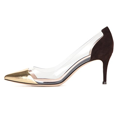 EDEFS Damenschuhe Kitten Heels Pumps Transparent Rutsch Mid-heel Party Hochzeit Schuhe Golden
