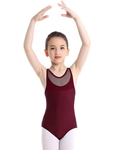 Bodysuit Tanz Kostüm Mesh - YiZYiF Kinder Mädchen Ballett Body Trikot Ärmellos Ballettanzug Turnanzug Gymnastikanzug Tanz Leotard 104 116 128 140 152 A Weinrot 152