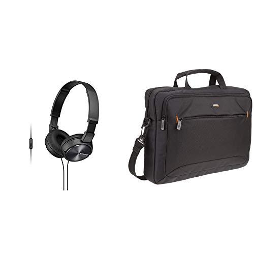 Sony MDR-ZX310AP Kopfhörer (Freisprechfunktion) & AmazonBasics Tasche für Laptop/Tablet mit Bildschirmdiagonale 15,6Zoll/39,6cm (Laptop Tablet Sony)