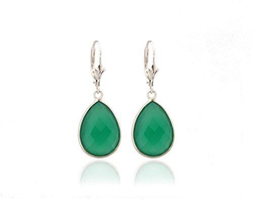 Bijou de créateur - fait main - boucles d'oreilles femme pendantes - pierres semi-précieuses en agate verte sertie et argent 925