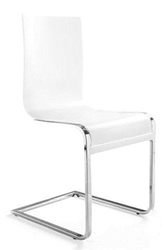 Designer sedia a sbalzo in legno e acciaio cromato bianche for Sedie bianche sala da pranzo