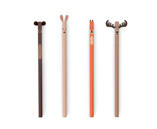 Kikkerland Woodland Bleistifte, 4er-Set