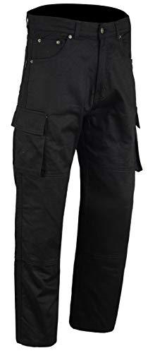 Australian Bikers Gear ABG - Motorrad Jeans/Cargo Hose - mit DuPontTM KEVLARARAMID FIBRE Abnehmbare Rüstung, Schwarz, 46R - 6XL
