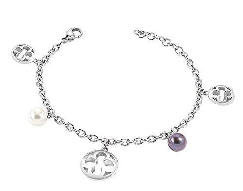Morellato Bracciale da donna SAAZ09 Ducale, Acciaio inossidabile, Perle coltivate, Argento