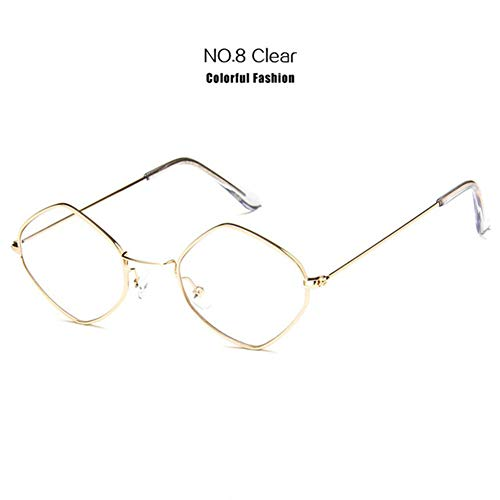 Li Kun Peng Kleine Sonnenbrille Frauen Vintage Metall Hexagon Klar Rosa Sonnenbrille Männer Retro Brillen Uv400 Brillen,C8Clear