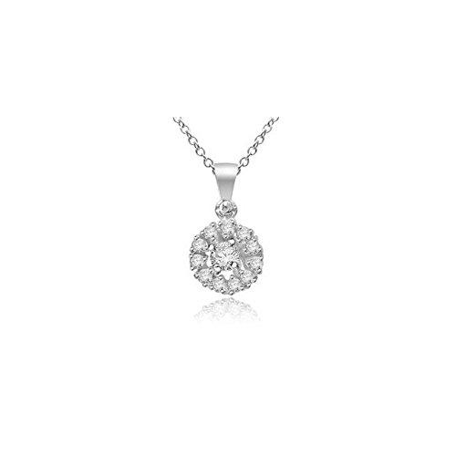 0.09ct F/VS1 Diamant Anhänger für Damen mit runden Brillantschliff diamanten in 18kt (750) Weißgold mit Halsband