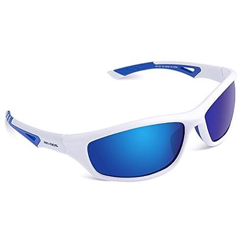 RIVBOS RBS942 TR90 Polarisierter Sport Sonnenbrille für Herren und Damen Skifahren Golf Laufen Radsport Superleichtes Rahmen Weiß & Blau