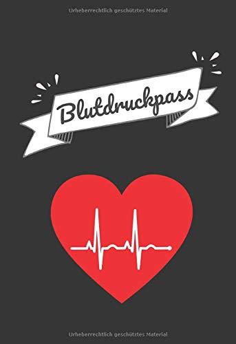 Blutdruckpass: klein, handlich | Platz für mehr als 2000 Messungen | ca. DIN A6 (10,5 cm x 15,3 cm) | Blutdruck-Tagebuch zum Ausfüllen | Gegliedert nach Datum, Uhrzeit, Blutdruck & Puls