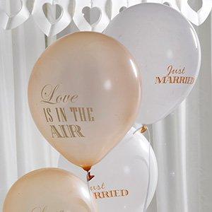 Unbekannt 'Globos con el Texto Just Married & Love is in The Air en Color Crema & Oro–Contenido 8Globos Pro Paquete–originelle Decoración para Bodas