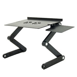 iCraze Adjustable Vented Laptop Table Laptop Computer Desk Portable Bed Tray Book Stand Multifuctional & Ergonomics Design Dual Layer Tabletop (Black) by iCraze