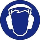 Gebotsschild aus Folie - Gehörschutz benzutzen - Ø 20 cm