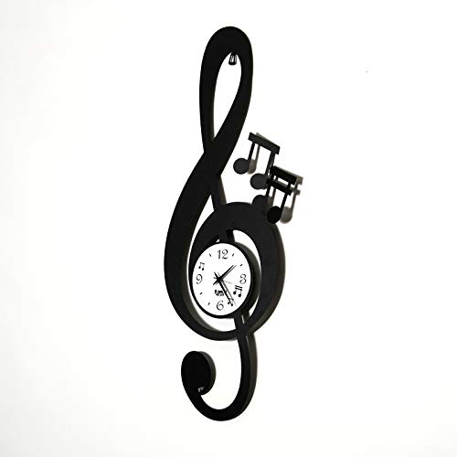 Arti e Mestieri Horloge Murale Clé Musicale Design Fer Noir