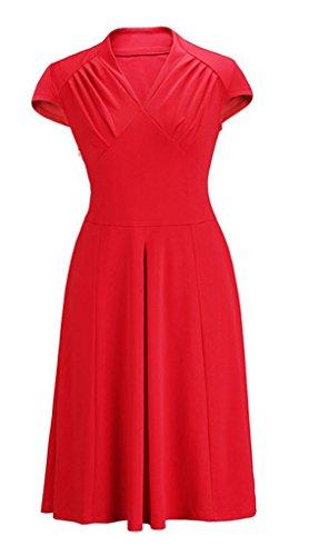 Smile YKK klassisches Design Damen Kurze Aermel Skaterkleid Cocktailkleid Party Kleid M Rot