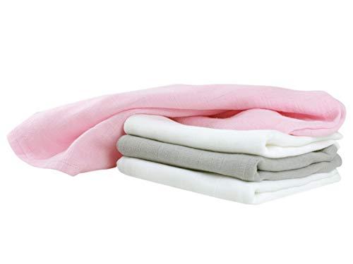 npluseins Mullwindeln - Spucktücher - Stoffwindeln im Vorteilspack - 10er Pack weiß oder 4er Pack in 2 verschiedenen Farbkombinationen - Einheitsgröße ca. 70 x 70 cm, 4er Pack - rosa weiß Taupe -