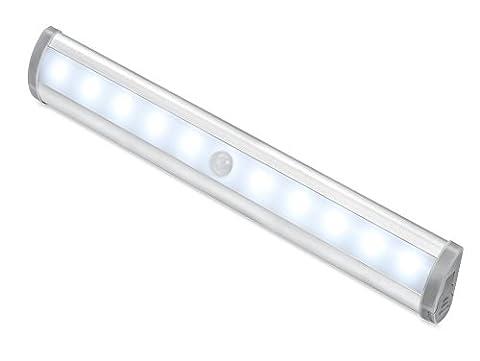 LED Lampe Pile, Lumière sans fil du capteur de mouvement, capteur de mouvement Portable 10 Super-Bright LED Cabinet sans fil de détecteur de mouvement sans fil Lumière de nuit LED avec bande magnétique pour placards, greniers, garages, voitures, hangars, débarras