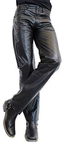 RICANO Jeans 01, Herren Lederhose (Slim Fit) aus echtem Büffel Nappa Leder in schwarz