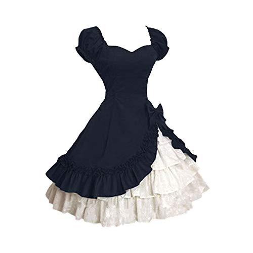 JiXuan Mittelalterliche Renaissance Kleid der Frauen Prinzessin Lolita Stil Kleid Kleid Spitze Cosplay Hauchhülse Gericht Kurzarm Kleid Kostüm (Frauen Der Renaissance Kostüm)