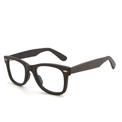 Frame Classic Retro Glasses Plain Glasses Große Brillenrahmen aus Holz Brille (Color : Kaffee, Size : Kostenlos)
