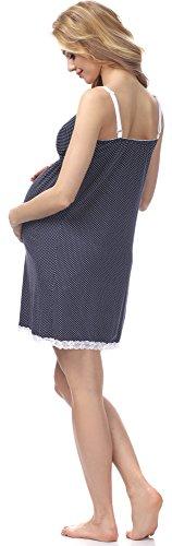 Be Mammy Maternité Chemise de Nuit Femme BE20-140 Bleu Sombre